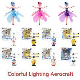 игрушка фея летит Скидка Красочный светодиодные осветительные Aerocraft Fairy Робот RC игрушки USB зарядка Интеллектуальные Раздражительность управления Fly Игрушки Детские подарки Многие стили