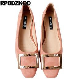 sapatas do ballet do diamante Desconto Camurça ballet strass rosa sapatos de vestido das mulheres ajuste largo quadrado toe bailarina apartamentos confortáveis de cristal de metal belo diamante