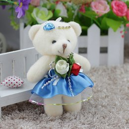12см плюшевые плюшевые медведи Скидка 12 шт. / Лот каваи маленькие плюшевые мишки фаршированные плюшевые 12 см мини-мультфильм букет плюшевый мишка свадебные детские игрушки телефон ключ кулон Q190521