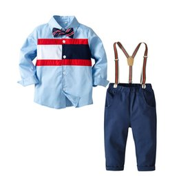 77984c152 China Newst kids designer clothes boys Clothing Sets boys shirt+ suspender  trousers pants childrens boutique clothing