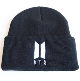 mens hat designers Promo Codes - BTS Logo Embroidered Mens Womens Designer Skullcaps High Street Hats Male Female Beanie High Street Fans Hat