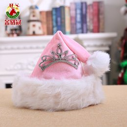 hats short hair Promo Codes - 30 x 40cm Princess Pink Crown Christmas Hats Halloween Children's Day Christmas Ornaments Santa Costume Hair Accessories