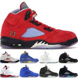 Jordan 5 retro 5s V OG Black Metallic White Gold Cemento di pallacanestro del Mens Blue Suede Shoes Olimpico metallici rosso fuoco di sport scarpe da