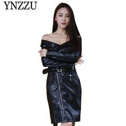 YNZZU 2019 Otoño Invierno negro fuera de shouler chaqueta de cuero delgado de manga larga sexy PU vestido de las señoras de moda elegante Faux coat YO845 desde fabricantes