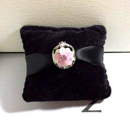 Emaille blume charme perlen online-Authentische 925 Sterling Silber Rosa Emaille Blumen Charms Original Box für Pandora Beads Charms Armband Schmuckherstellung Zubehör