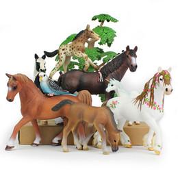 2PCs//set Horse family pack Simulation model Animals kids toys ZY