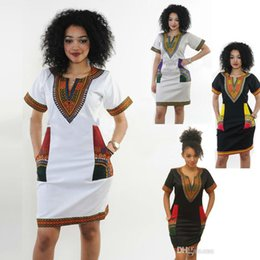 Tallas de vestido indio online-Vestidos africanos para las mujeres Impresión India Tallas grandes Ropa Dashiki Robe Femme Boho Dashiki Tela Verano Sexy Hippie