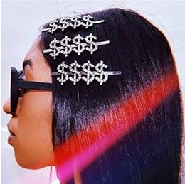 2020 pinzas para el cabello plateadas $$$$ muestra del dinero de plata joyería del Rhinestone pinza de pelo Barrettes Letters cristal de las mujeres Palabra pernos de pelo de pelo rebajas pinzas para el cabello plateadas