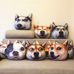 Autos zeug spielzeug online-Großverkauf der Fabrik 3D Plüschtiere Nettes Hundekopfkissensimulations-lustiges Kissen Plüschtiere Spielzeugkissen-Autokissen