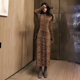 34f51ab61c3c Abbigliamento donna Primavera Vintage Vestito fasciante con fasciatura  leopardata Abito sexy a maniche lunghe con collo alto e maniche lunghe