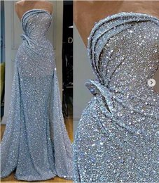 ice blue mermaid prom dresses Promo Codes - Real Images Ice Blue Full Sequined Evening Dresses 2020 Strapless Sparkling Sequin Mermaid Backless Prom Party Dresses Robe De Soiree