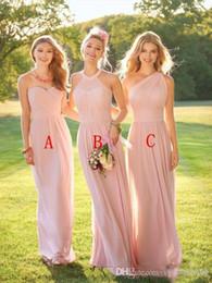 2019 lilás curto vestidos de dama de honra ruffle 2018 Blush rosa longo da dama de honra vestidos de três estilos barato empregada dos vestidos de honra verão mulheres vestidos