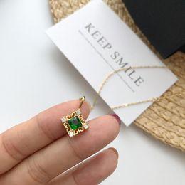 tendências da jóia de pedra Desconto Colar S925 moda de Ouro Tendência verde Zircon Pedra colar de pingente de prata da jóia da Mulher
