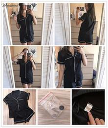 elástico Desconto Piping Womens bolso frontal Pajama Set Preto manga curta lapela Top Com cintura elástica Contraste Dois conjuntos de peças