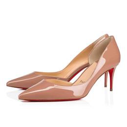 zapatos de vestir de hombre suela de cuero Rebajas Cuero Negro Patente desnuda del brillo de las mujeres Zapatos rojos Zapatos iriza abajo, Italia lujo tacones altos hombres rojos soles del partido del vestido de pisos / talones super Qua