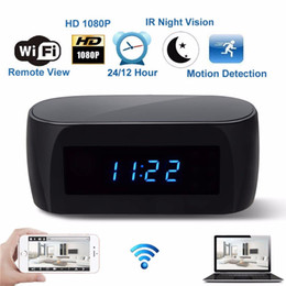 despertador câmera wi-fi Desconto EUA UE REINO UNIDO Plug HD 1080 P Câmera Wi-fi Relógio Despertador com Detecção de Movimento IR Night Vision Segurança em Tempo Real de Vídeo Nanny Relógio