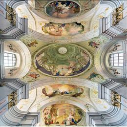 2020 pinturas clássicas anjos anjo clássico europeu teto pintura a óleo pinturas murais Sala teto Wallpaper pinturas clássicas anjos barato