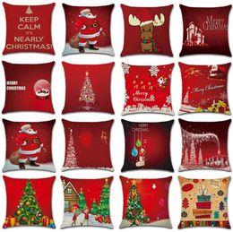 2020 papai noel decorações de árvore de natal Papai Noel cervos fronha Detalhes no Feliz Natal Para Casa 2019 Sofá decorativa Almofadas Xmas Tree Christmas Gift desconto papai noel decorações de árvore de natal