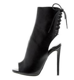 botas abertas para o tornozelo Desconto Top Quality Bege Aberto Preto Ankle Bootie Peep Toe Cut-out Gladiador Sandálias Botas Para As Mulheres de Salto Alto Vestido sapatos mulher