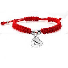 Gesegnete armbänder online-Glücksarmband Ich liebe dich Mom Red Thread Armbänder Schmuck Für Mama Muttertagsgeschenk Familie Bless Charm Armbänder