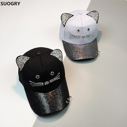 SUOGRY Rhinestone Snapback Cute Cat Ears Cartoon Baseball Cap Women Casual  Sun Hat Gorras Bones Casquette for Woman  17387 cebdc5f71991