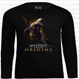2019 assassini creed t shirts Assassin 's Creed Graphic Mens nero maniche lunghe Tops Moda girocollo T-shirt Taglia S M L XL 2XL assassini creed t shirts economici