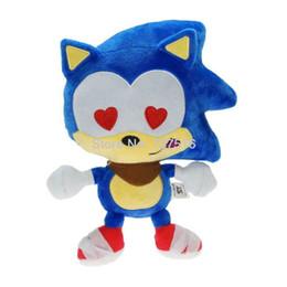 2019 boneca bonito dos ouriços Novo Sonic the Hedgehog Bonito Emoji Sonic Olhos de Amor Boneca De Pelúcia Azul Recheado Macio Presentes de Brinquedo de Crianças 9 polegada boneca bonito dos ouriços barato