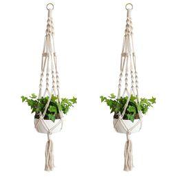 Piante per vasi da fiori online-Pianta Hanger Hook Flower Pot Handmade Knitting Cordone naturale Cesto di fioriera Cesto Casa Giardino Decorazione balcone