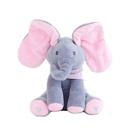 baby animal music plush toys Promo Codes - Electric Singing Elephant Animals Plush Stuffed Music Doll shake shaking ears Teddy Bear Rabbit Interactive Toy For Pink Children Baby sleep