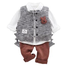 Meninos coletes cinza on-line-3 pcs WLG criança menino conjunto de roupas crianças cinza colete camisa branca e café calça set bebê roupas casuais 9-36 meses