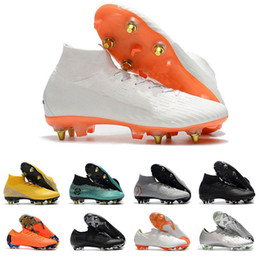 2019 zapatos de fútbol de corte alto Lo nuevo Mercurial Superfly High Low Cut para hombre Botas de fútbol Diseñador CR7 Ronaldo Neymar FG KJ Zapatillas de fútbol Zapatillas Futsal 39-46 zapatos de fútbol de corte alto baratos