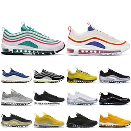 summer brand shoes Coupons - 2019 Brand 97 Running Shoes Men Women Triple Black South Beach Pull Tab Silver Bullet 97s Designer Shoes Sport Sneakers 36-45