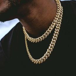 enlace cubano de oro 14k Rebajas Cadenas de Hip Hop Bling joyería de los hombres hacia fuera helado collar de 14 quilates Cadenas Miami Plata Oro cubana cadenas de acoplamiento