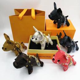Llavero perro caliente online-Hot Luxury Bulldog Keychain Fashion Car Llaveros para mujer y hombre France dog Llavero de diseño de acero inoxidable para regalos con caja RS-965
