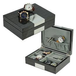 abotoaduras de cor roxa Desconto SONNY Cinza Ginko Lacado Abotoaduras Anel Caixa De Relógio Caixa de Exibição Organizador De Jóias Vitrine com 4 Slots Caixa de Relógio