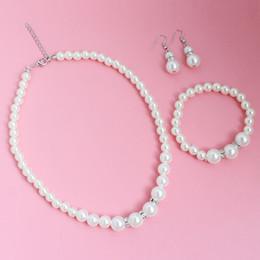 2019 conjuntos de boda de cristal Crystal Pearl Necklace Earrings Wedding Set de joyería nupcial rebajas conjuntos de boda de cristal