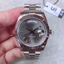 relógio mecânico Desconto U1 Fábrica Novo Mens Watch DIA DATA Cinza Roma Número Rosto Grande Data Mecânica Automática Assista Men Sapphire Vidro Aço Inoxidável mens watch