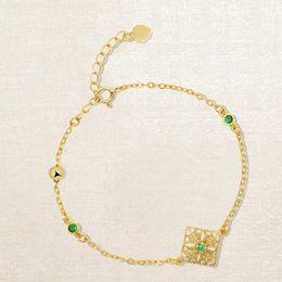 Smaragd armband sterling online-Luxus schmuck s925 sterling silber armbänder 18 karat vergoldet schnitzen spitze smaragd armbänder für frauen heiße mode