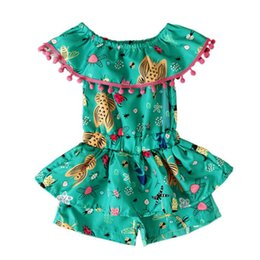 Argentina Kids Girls Summer Body Newborn Baby Girl Off-shoulder Body de una pieza Sin mangas con volantes Green Jumpsuit Shorts Trajes cheap girls one piece shorts bodysuit Suministro
