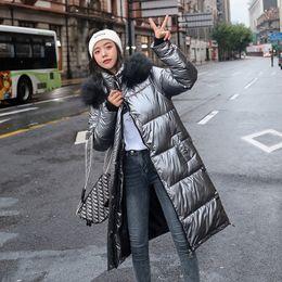 mulher parka de prata Desconto Novas Mulheres Long Coat Parkas Feminino Glossy Inverno Quente Jacket Thicken Faux Fur Coats prata para baixo casaco Parker Jacket