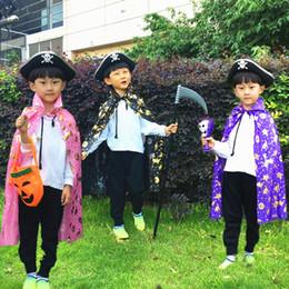 Traje do assistente dos miúdos on-line-Crianças Halloween Manto Halloween Bruxa Bruxa Robe Vestido de Traje Cosplay Cape Abóbora Preto Manto Manto Azul