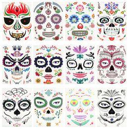 Volto adesivo di halloween online-Halloween Party di Natale Sticker Viso impermeabile Trucco teatrale ambientale Props arte del fronte Sticker Abbastanza autoadesivo del tatuaggio RRA2125