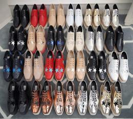 Lucky2019 Stella Mccartney Women Star Shoes Высочайшее качество натуральной телячьей кожи 7-8cm Клин Оксфорды Elyse Кроссовки cheap wedge oxfords women shoes от Поставщики клин-оксфорды женская обувь