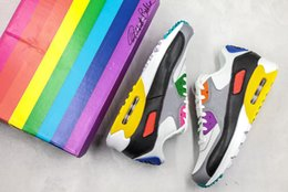 colorful tennis shoes Coupons - 2019 Mens 90 Be Ture Rainbow Running Shoes for Men Designer Sneakers Colorful 90s Beture CJ5482-100 des Chaussures Schuhe Sports 39-44