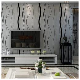 gekrümmte tvs Rabatt 3D Gebogene Streifen Vliestapete TV Hintergrund Schlafzimmer Wohnzimmer Wandaufkleber Dekoration 0,53x10 mt