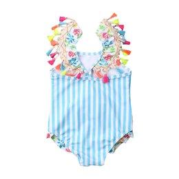 Kids Toddler Baby Bikini Girl One Piece Swimsuit Beach Wear Striped Flamingo Bikini Tassels Swimwear Bathing Suits 0 6T New Wear