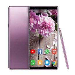 qwerty cellphone Desconto Goophone Note 9 6.3 polegada tela cheia 1G 8G Fingerprint Quad Core MTK6580 Desbloqueado Celular show de 4g falso lte 128 GB ROM