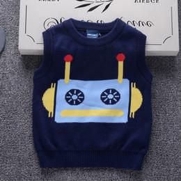 abrigo de chaleco de algodón para niños Rebajas Buena calidad Patrón Robot Suéter Chalecos de Algodón de Invierno Espesar Niños prendas de punto Abrigos O-cuello Sin mangas Suéteres para niños Ropa
