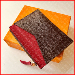 Mulher do saco do quadril on-line-Titular do cartão de zippy Designer de moda das mulheres titular do cartão caso de luxo Zippy Coin Purse marca chave bolsa bolsa carteira marrom lona frete grátis