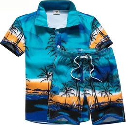 mens hiking shorts Coupons - Mens 2pcs Designer Suits Coconut Palm Printed Beach POLO Shirts Short Pant Suits Stage Costumes Clothes